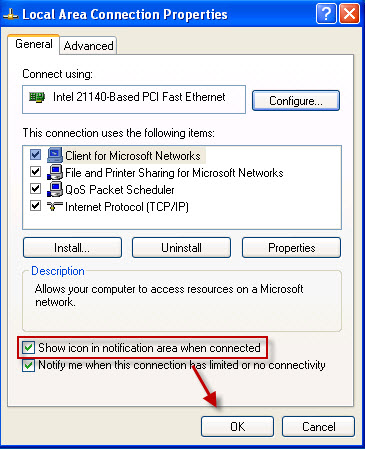 [Windows XP] How to show Internet / LAN / Wireless Network Connection Icon