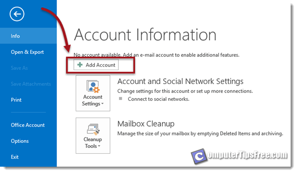 Gmail microsoft outlook add account