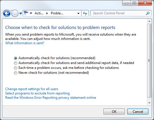 Explorer Has Stopped Working Disable Windows Error Reporting check solution