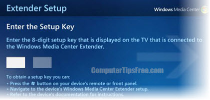 extender setup windows media center