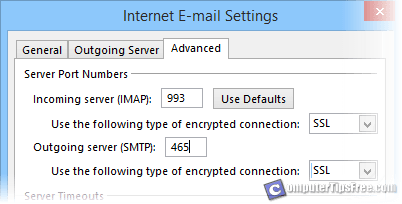 Gmail smtp pop3 imap server settings for outlook 2013 - Smtp and pop3 port number ...