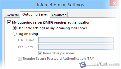 gmail outlook outgoing server requires authentication