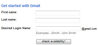 Gmail Sign Up form page create a new www.gmail.com account