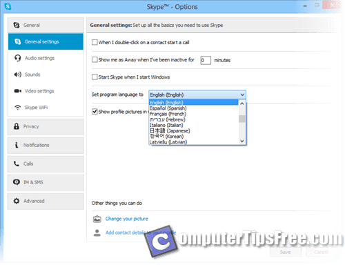 how to change skype language windows live messenger