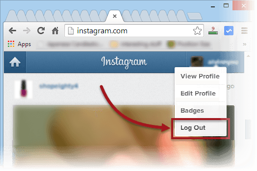 instagram log out