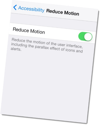 reduce motion speed up ios7