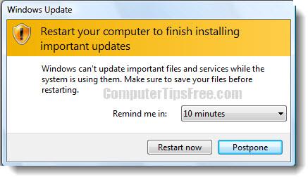 Stop/Disable Windows Update Restart Prompt Windows 8/7