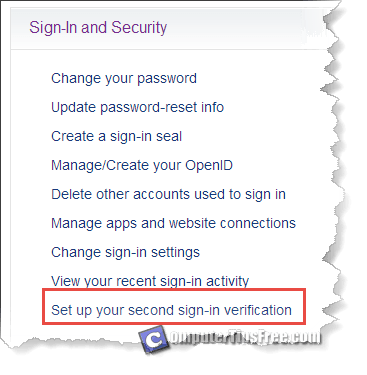 yahoo second sign in verification